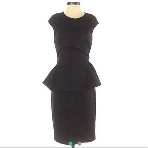 ZARA Black Purple Peplum Dress Size XS